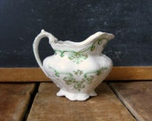 """Antique Creamer, Antique China, Johnson Brothers, Green """"Rolland"""" Pattern, 1913, Green Transferware, China Creamer with Gold Accents"""