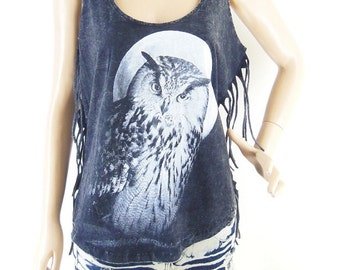 Owl Moon T Shirt  Owl T Shirt Moon T Shirt  Sleeve Bleached Shirt Women Shirt Screen Print  (Measurements - fits great from S - M)