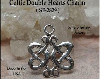 Sterling Silver Celtic Heart Charm Necklace, Celtic Wedding Jewelry, 925 Silver Double Heart Celtic Knot Handmade Jewelry