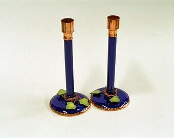 Candlesticks, glass enameled candlesticks; Candlesticks made in the USA; glass enamel candlestick pair;  blue candlesticks with leaves