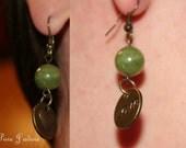 Green 'Love' Drop Earrings