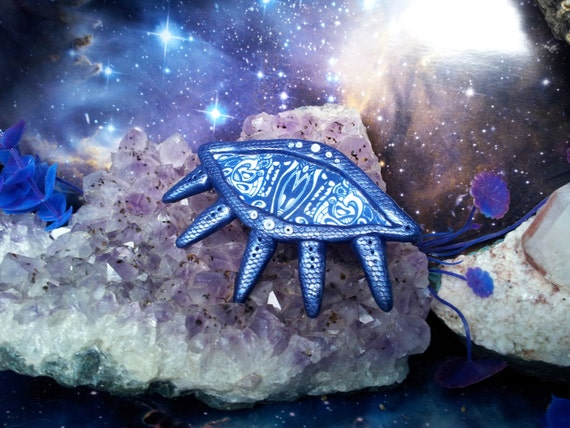 Blue cosmic eye shamanic hair clip