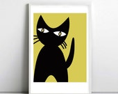 Black cat with yellow eyes - Cat poster 5 - art print by nicemiceforyou