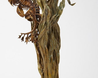 Bronze sculpture leafy sea dragon seahorse with sea grass by Kirk McGuire