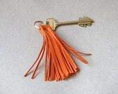 Leather Tassel Keychain, Orange