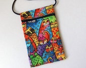 Pouch Zip Bag Bright CAT Fabric - great for walkers, markets, travel.  Cell phone pouch. Small fabric purse. rainbow cats bag gold accents.