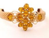 Bracelet macrame, made in Italy,  accessories, glass beads, amber beads, gifts for mom, christmas gift, etsy gifts pulsera