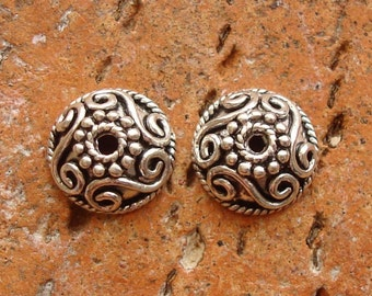 2 Large Bead Caps, Granulated and Wire Ornamented, Oxidized Sterling Silver .925, 10.2x4.4mm, SCN112