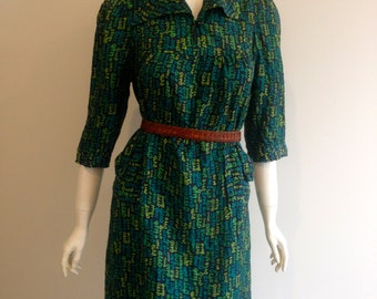Green Silk 70s Retro Dress