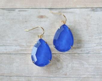 Cobalt Blue Teardrop Earrings, Royal Blue Statement Earrings, Rhinestone Teardrop Earrings, Blue Bridesmaid Earrings