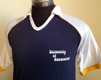 70s 80s Vintage UConn University Connecticut baseball T-Shirt - LARGE