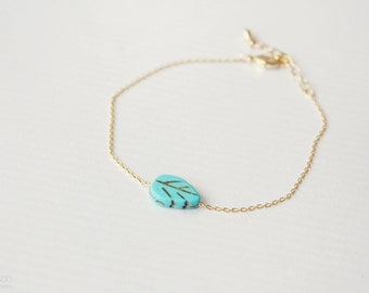 turquoise leaf dainty bracelet - delicate, minimalist everyday bracelet / gift for her - summer jewelry