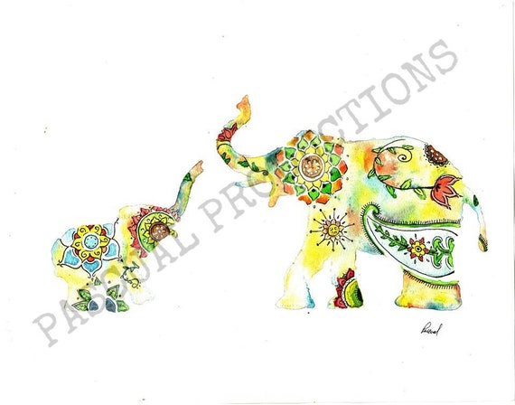 Elephant Watercolor Painting Colorful Design Print Indian Style Mother Baby Print Elephants