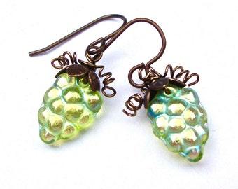 Grape Earrings, Brass Earrings, Wine Earrings, Grapevine Earrings, Elegant Earrings, Vineyard Earrings, Wine Jewelry
