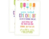 Girls Birthday Party Invitation - Popsicle Invitation - Summer Party Invite - Party Printables - Kids Party Invitation - Bright Invitation