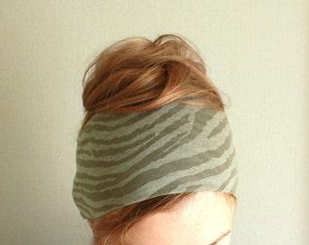 khaki wide headband,  jersey bandana head band , sport head wraps for women, yoga headwrap