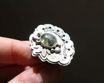 Engagement ring, Moss garden, prehnite sterling silver ring, size 7