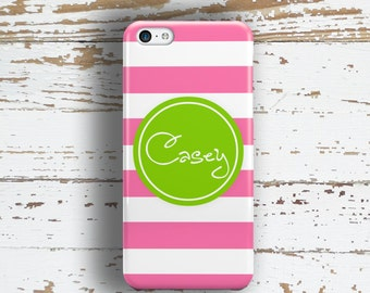 Personalized phone case, Cabana stripe hot pink lime green, Monogram Girls Cute, Fits iPhone 4/4s 5/5s 6/6s 7 8 5c SE X and Plus (9785)