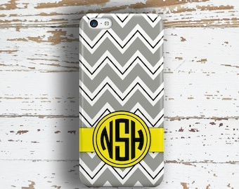 Preppy fashion accessory Iphone 5c case, Chevron Iphone 6 case, Personalized iPhone 5s case, Monogram iPhone 6s case, Yellow gray (1412)