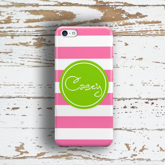 Personalized iPhone 6 case, Cabana stripe hot pink lime green, Monogram Iphone 5 case, Girls Iphone 5c case, Cute Iphone 4s case (9785P)