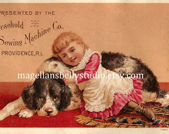 Girl With Dog  Instant Digital Download  1800's Household Sewing Machine Comany  Victorian Trade Card
