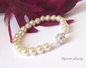 rhinestone & pearl bridal bracelet, swarovski pearl wedding bracelet, ivory pearl bracelet, bridesmaid jewelry, pearl bridesmaid bracelet