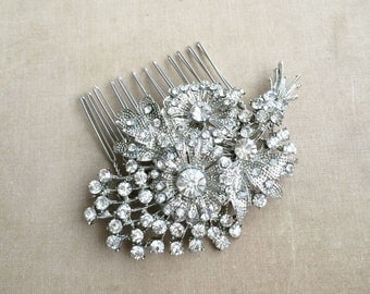 Bridal flower comb, wedding comb,hair flower comb,silver bridal comb, garden wedding, silver, crystal rhinestone WIRED BOUQUET