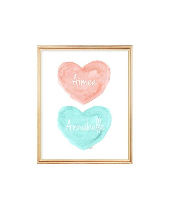 Coral and Aqua Sisters Wall Decor, 8x10 Personalized Watercolor Print