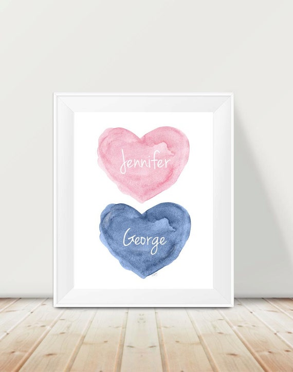 Pink and Navy Nursery, 11x14 Brother Sister Print