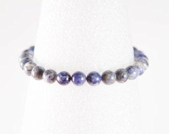 Sodalite Stretch Bracelet, Blue Stacking Bracelet, Semi Precious Gemstone Jewelry, Blue Stone Bracelet, Blue & White Bead Elastic Anklet,