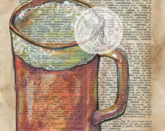 PRINT:  Bier Mixed Media Drawing on Antique German/English Dictionary