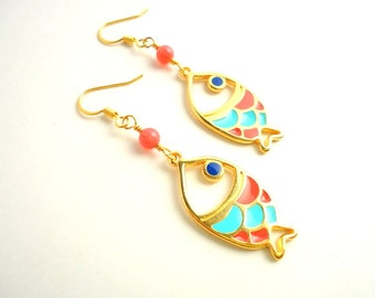 Gold Fish earrings/ Drop earrings/ Dangle earrings/ mint green earrings/ coral earrings/ summer earrings/ gold earrings/ royal blue earrings
