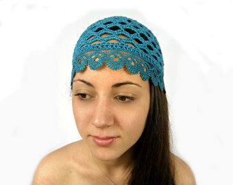 Teal women crochet hat/Bridesmaid hats/Summer beanie HAT/ teal summer beanie crochet beanie/summer skull cap/chemo hats/lace hat/chose size