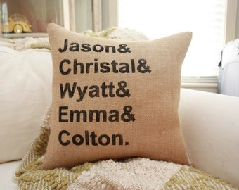Burlap Pillow - Personalized Family Name Pillow / Kids Names