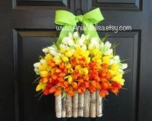 spring wreath, spring wreaths, summer wreath, front door wreaths, Easter wreath, decorations, birch bark vases burlap bow welcome wreaths