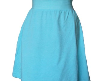 Jersey Knit Skirt Turquoise Rolled Waistband