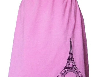 Eiffel Tower Pink Cotton Jersey Knit Skirt with a Rolled Waistband