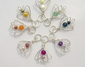 Spring Bouquet Knitting Stitch Markers - Handmade in Sterling Silver Featuring Semi Precious Stones and Swarovski Crystal Pearls