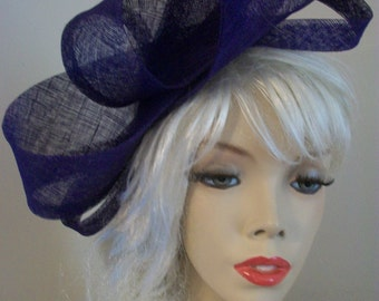Fascinator Hat Purple loop headpiece on a hairband, perfect for the races or a wedding