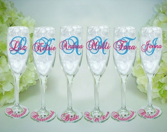 6 Bridesmaid Champagne Glasses - Personalized Bride and Bridesmaid Glasses - Monogrammed Champagne Glasses - Wedding Party Flutes