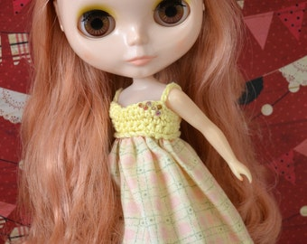 Garden Party Dress for Neo Blythe - Yellow Beaded