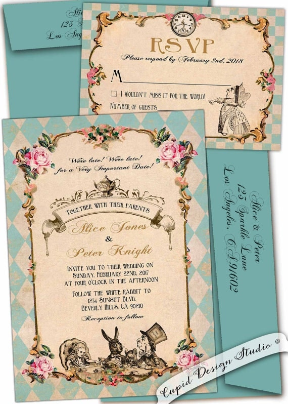 Alice In Wonderland Wedding Invitation Mad Hatter Whimsical Tea Party Robin Egg Blue Turquoise