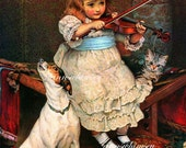 Little Girl Plays Violin, Dog Howls, Cat Plays With Broken String, WONDERFUL Restored Antique Art, Great for Little Girl's Room #88