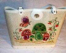 Enid Collins Handbag - Jeweled Purse - Beige - Mushroom Butterfly