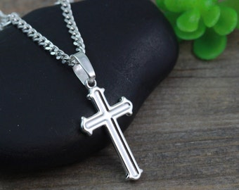 Mens celtic cross necklace sterling silver mens irish unisex small sterling silver cross necklace first communion baptism confirmation ggraduation gift mozeypictures Gallery