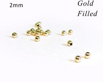 SALE Tiny Gold Filled Beads 2mm Round Beads RZ210Y