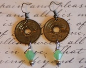 Genuine Coin Earrings, Japan 5 Yen, with Center Hole, Asian Coin, green beads, Handmade