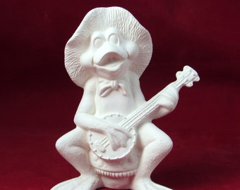 Ceramic Ready to Paint Frog Playing the Banjo  - 5 3/4 inches high -  bisque, lawn and garden, indoor or outdoor