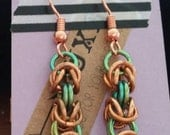 Copper & Lime Niobium Chainmaille Drop Earrings