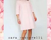 PINK classy SPRING COAT, blush pink bride cover up, pastel pink elegant jacket with swarovski statement neck elements, elegant 1960s coat